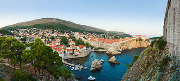 Panorama of Dubrovnik, Croatia at sunset Stock Photo