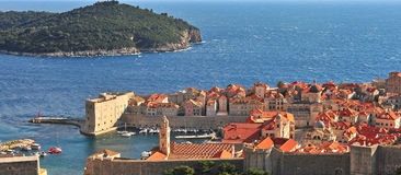 Panorama of Dubrovnik historical centre and mediterranean sea Royalty Free Stock Image