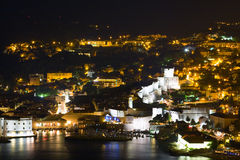 A panorama of Dubrovnik by night, Croatia Royalty Free Stock Photography