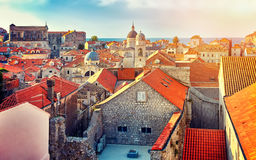 Panorama Dubrovnik Old Town roofs at sunset. Europe, Croatia Royalty Free Stock Photos