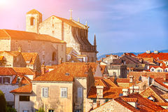 Panorama Dubrovnik Old Town roofs at sunset. Europe, Croatia Stock Photography