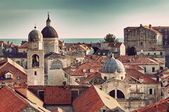 Panorama Dubrovnik Old Town roofs at sunset Stock Photo