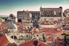 Panorama Dubrovnik Old Town roofs at sunset Stock Images