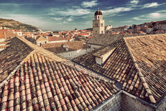 Panorama Dubrovnik Old Town roofs at sunset Royalty Free Stock Image