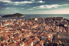 Panorama Dubrovnik Old Town roofs at sunset Stock Photos