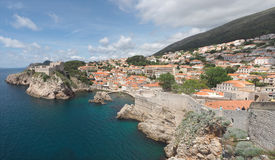 Panorama of Dubrovnik's City Wall and Skyline Royalty Free Stock Photos