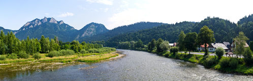 Panorama of Dunajec and Pieniny mountains, Poland Stock Photos