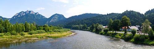 Panorama of Dunajec and Pieniny mountains, Poland Stock Photos