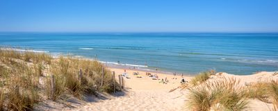 Panorama of the dune and the beach of Lacanau, atlantic ocean, France. Panorama of the dune and the beach of Lacanau, atlantic ocean France Royalty Free Stock Image