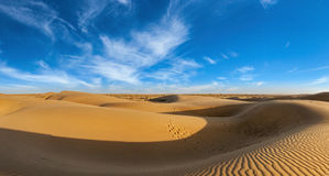 Panorama of dunes in Thar Desert, Rajasthan, India Royalty Free Stock Photo
