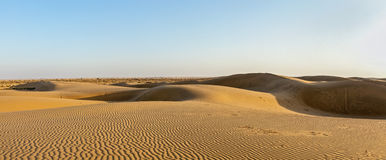 Panorama of dunes in Thar Desert, Rajasthan, India Royalty Free Stock Images