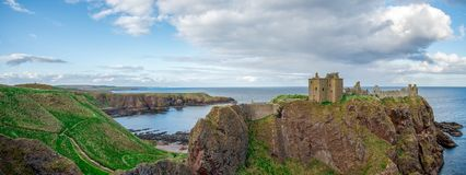 Panorama of Dunnottar Castle and North Sea coast, Scotland Stock Photos