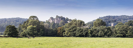 Panorama of Dunster Castle and church Royalty Free Stock Photos
