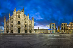 Panorama of Duomo di Milano (Milan Cathedral) and Piazza del Duo Stock Photos