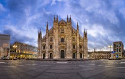 Panorama of Duomo di Milano (Milan Cathedral) and Piazza del Duo Royalty Free Stock Image