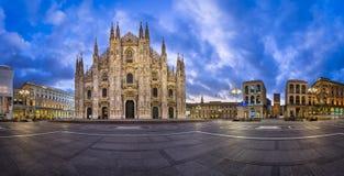 Panorama of Duomo di Milano (Milan Cathedral) and Piazza del Duo Royalty Free Stock Image