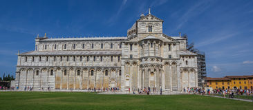 Panorama of the Duomo at the Piazza dei Miracoli in Pisa Stock Photos