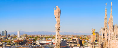 Panorama from Duomo roof, Milan, Italy Stock Photography