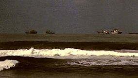Archival Durban Beach panorama. Panorama of Durban Beach boats. Historical seascape of Durban city of the 1980s in South Africa stock video footage