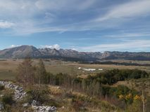 The Panorama of  The Durmitor. The Autumn panorama of The Durmitor mountain range Royalty Free Stock Image