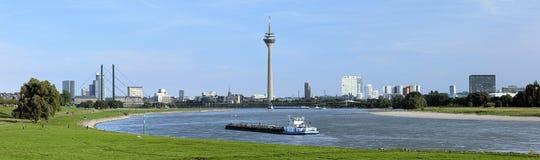 Panorama of Dusseldorf with Rheinturm TV tower, Germany Stock Images