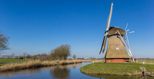 Panorama of a dutch windmill in Groningen Royalty Free Stock Image