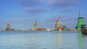 Panorama of dutch windmills in Holland 4K stock footage
