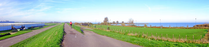 Panorama from the dyke near Amsterdam Netherlands Royalty Free Stock Photo