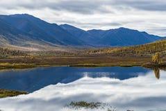 Panorama dziki lasowy jezioro w jesień sezonie, Rosja obraz stock