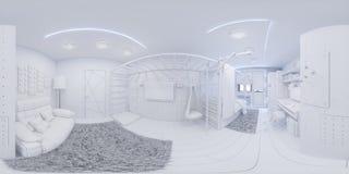 panorama 360 eamless do design de interiores da sala do ` s das crianças Foto de Stock Royalty Free