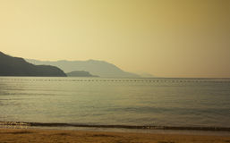 Panorama of the early morning beach in Montenegro Stock Images