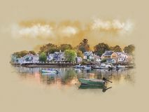 Panorama of early morning in Portsmouth, new Hampshire. Early summer morning in Portsmouth, new Hampshire. Peaceful nature, Watercolor sketch vector illustration