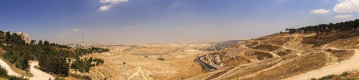 Panorama of the east Jerusalem suburb surrounding the mt. Scopus Stock Image