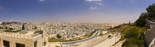 Panorama of East Jerusalem suburb and a West Bank town Royalty Free Stock Photo