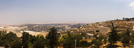 Panorama of East Jerusalem suburb and a West Bank town Stock Photo