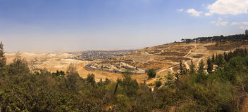 Panorama of East Jerusalem suburb and a West Bank town Stock Images