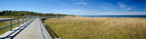 Panorama of an Eco-Centre, New Brunswick, Canada. A boardwalk at Bouctouche Dunes, central New Brunswick, Canada royalty free stock photos