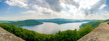Panorama of Edersee Germany green trees blue sky clouds summer Stock Photos