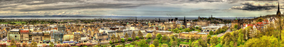 Panorama of Edinburgh from the Castle Stock Photo