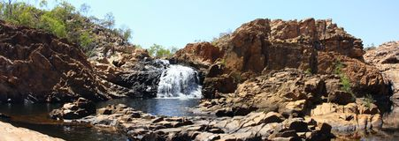 Panorama - Edith falls, Nitmiluk National Park, Northern Territory, Australia. Upper Edith falls, Nitmiluk National Park, Northern Territory, Australia royalty free stock images