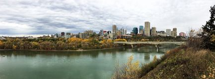 Panorama of Edmonton, Alberta, Canada with colorful aspen in autumn. A Panorama of Edmonton, Alberta, Canada with colorful aspen in autumn stock photo