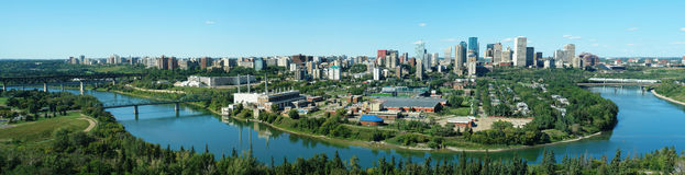 Panorama of edmonton downtown. And the north saskatchewan river valley, edmonton, alberta, canada stock images