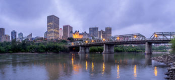 Panorama of Edmonton's skyline at dusk. EDMONTON, CANADA - MAY 20: Panorama of Edmonton's skyline at dusk on May 20, 2016 in Edmonton, Alberta. The Saskatchewan stock photos