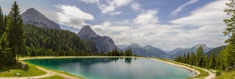 Panorama of Ehrwald Alpin Lake Royalty Free Stock Photo
