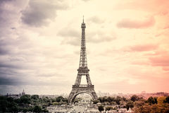Panorama Eiffel Tower in Paris in the colors of the French national flag. Vintage. Tour Eiffel old retro style. Royalty Free Stock Images