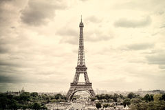 Panorama Eiffel Tower in Paris. France. Vintage view. Stock Images