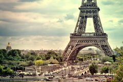 Panorama Eiffel Tower in Paris. France. Vintage view. Royalty Free Stock Photography