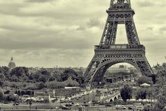 Panorama Eiffel Tower in Paris. Vintage view.  retro style. Stock Photos