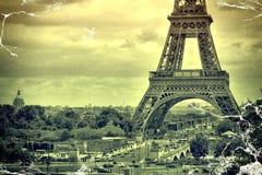 Panorama Eiffel Tower in Paris. Vintage view.  retro style. Royalty Free Stock Photos