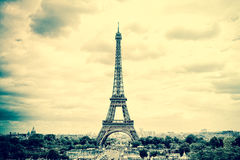 Panorama Eiffel Tower in Paris. Vintage view. Tour Eiffel old retro style . royalty free stock photography